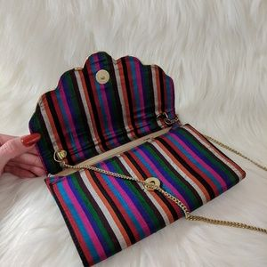 Vintage multicolor striped purse with gold chain